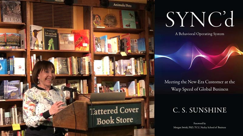 Cathy sunshine at Tattered Cover Book Signing for SYNC'd